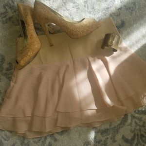 Bebe mini skirt in cream/cream color